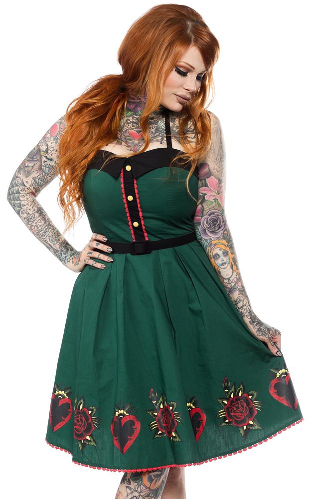 Spooksville Hearts & Roses Dress by Sourpuss- SALE sz XL only