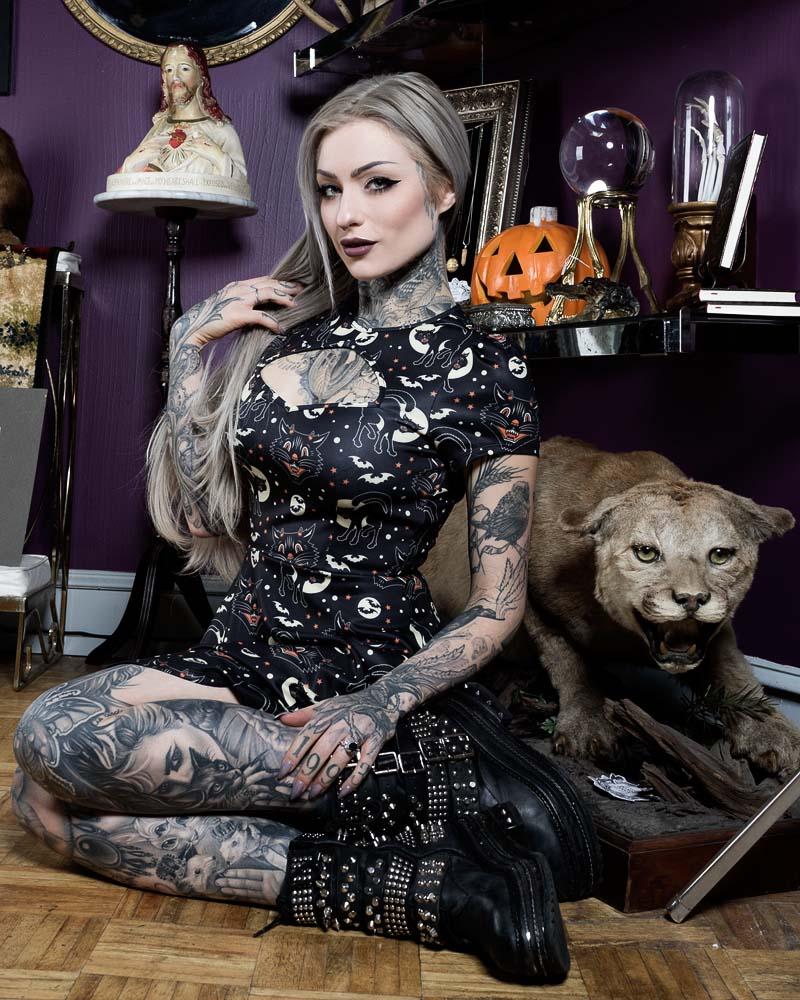 Scuba Dress by Sourpuss - Lucy Fur - SALE sz XL only