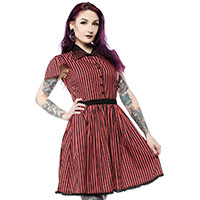 Lydia Striped Spiderweb Dress by Sourpuss - Red & Black - SALE sz XS only