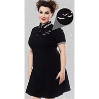 Polo Bat Dress by Sourpuss - in black w white trim