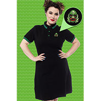 Polo Creature Dress by Sourpuss - in black w green trim