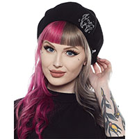 Creep Heart Black Cat Beret by Sourpuss Clothing
