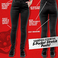 5 Pocket High Waisted Girls Stretch Pants by Sourpuss -Black