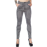 Striped 5 Pocket High Waisted Girls Stretch Pants by Sourpuss - black & white