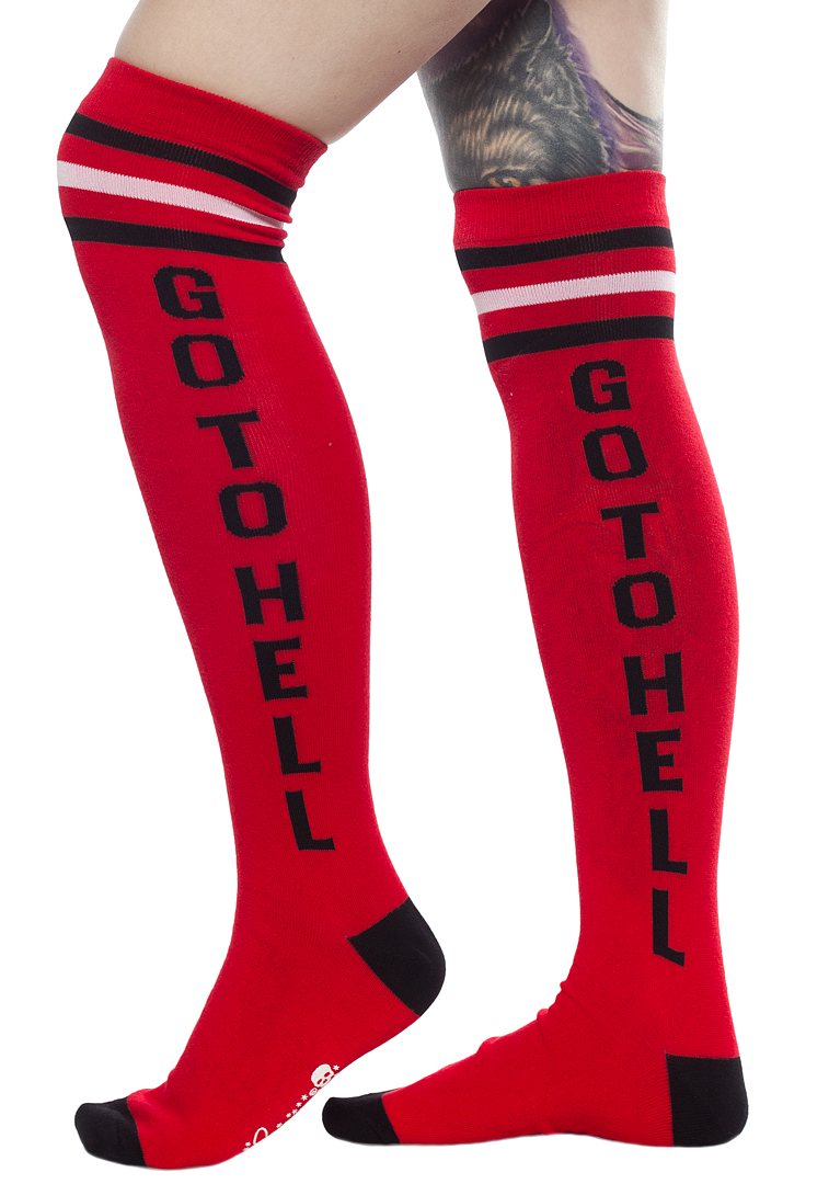 Over The Knee Girls Socks by Sourpuss- Go To Hell