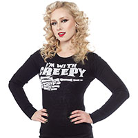 I'm With Creepy Skele Hand Pull Over Sweater by Sourpuss - SALE