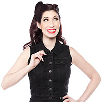 Essential Black Denim Gal's Vest - by Sourpuss