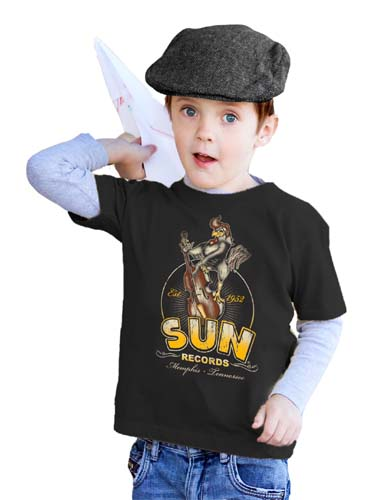 Sun Records- Roosterbilly on a black KIDS shirt by Steady Clothing