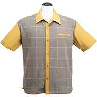 Bad New Felix Button Up Bowling Shirt by Steady Clothing - Mustard