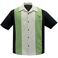 Atomic Mad Men Retro Mod Bowling Shirt by Steady Clothing - Black/Apple/Stone