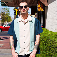 Atomic Mad Men Retro Mod Bowling Shirt by Steady Clothing - Teal/Mint/Stone