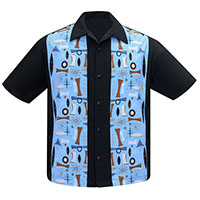 Atomic Dream Panel Shirt by Steady Clothing - Black & Aqua