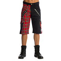 Split Leg Plaid/Black Cotton Blend Bondage Shorts by Banned Apparel