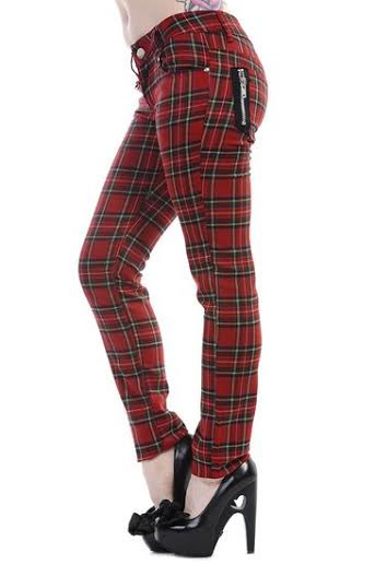 Red Tartan Plaid Skinny Pants by Banned Apparel 264e55307