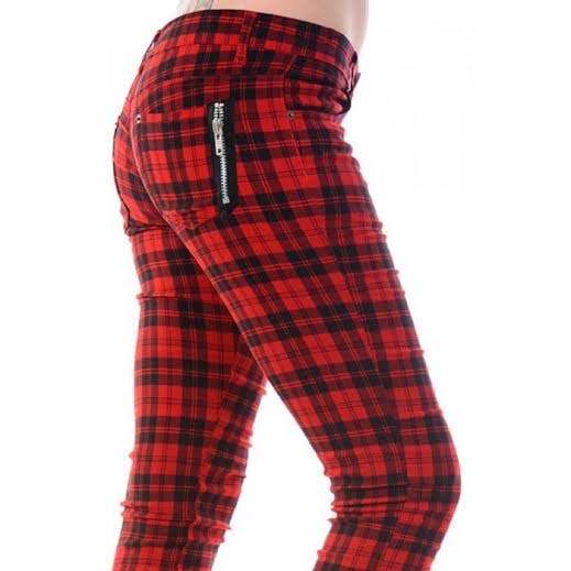 Size Red Checked Skinny Jeans by Banned Apparel