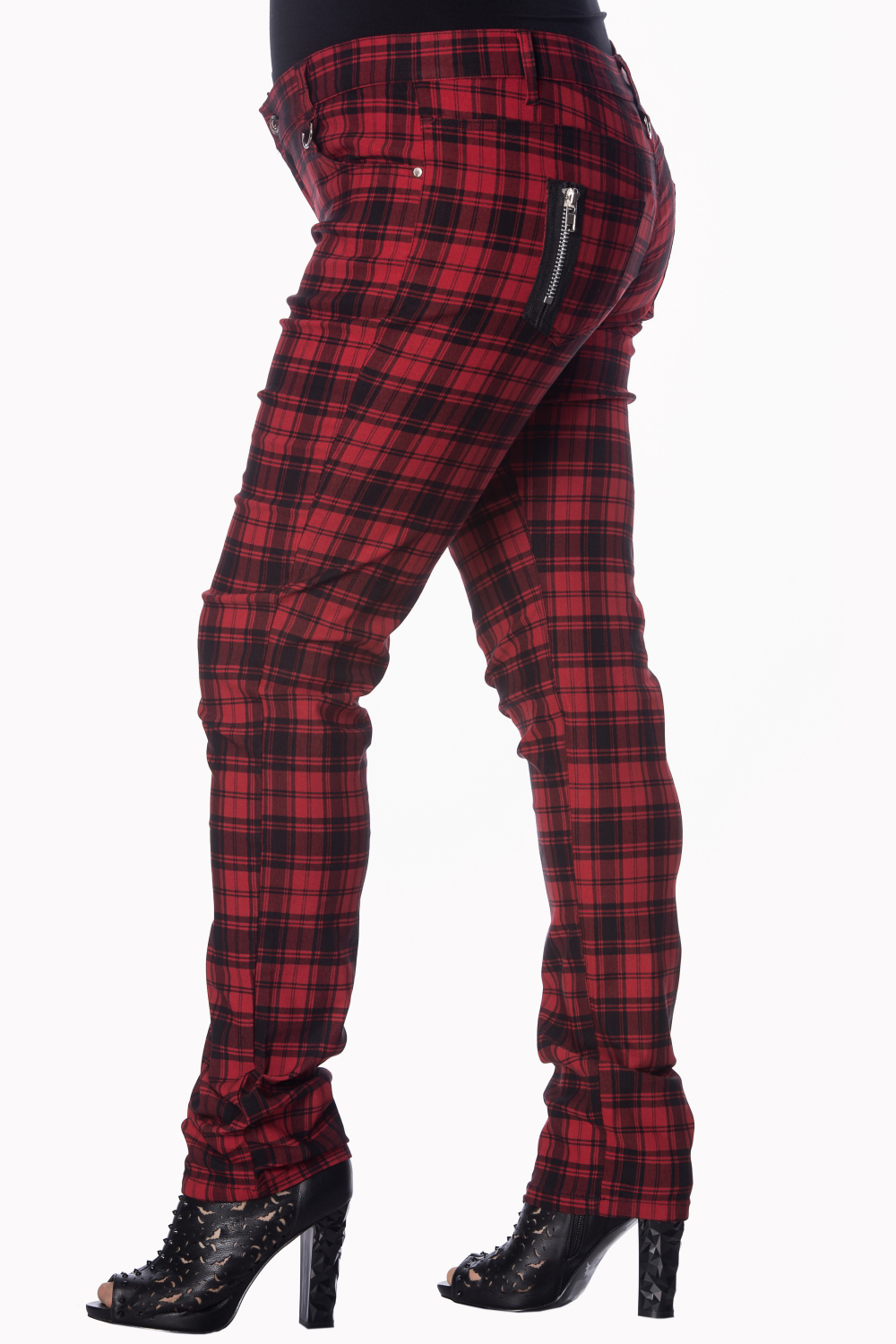 a4cc226c9dd Plus Size Red Checked Skinny Jeans by Banned Apparel