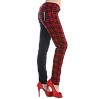 Red Checkered Split Skinny Jeans by Banned Apparel