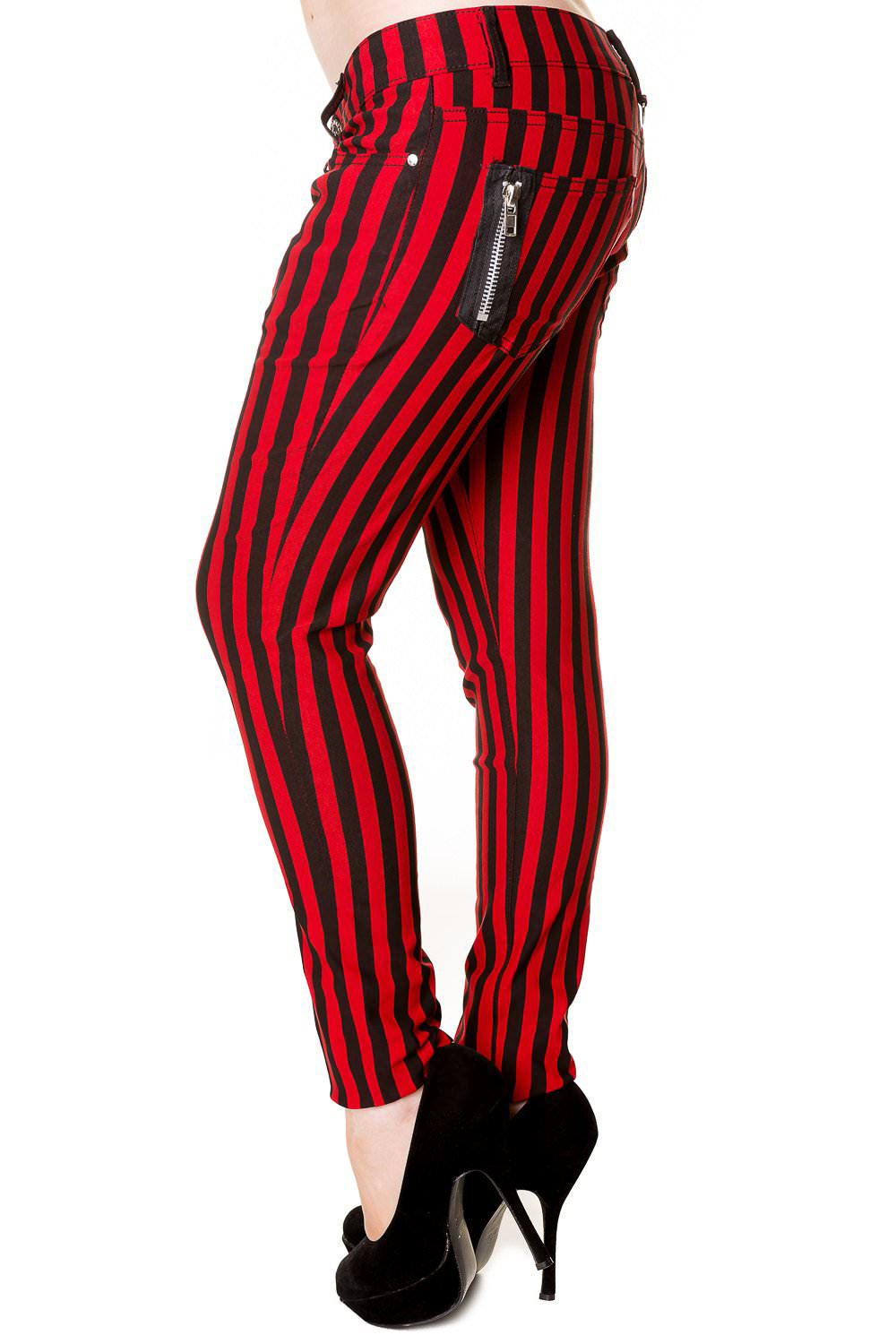 Black & Red Stripe Skinny Jeans by Banned Apparel
