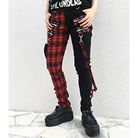 Jetsetter Split Leg Trousers - Red & Black Plaid/ Black Girls Bondage Pants by Banned Apparel