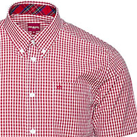 Terry Shirt Sleeve Gingham Button Up by Merc Clothing- Blood