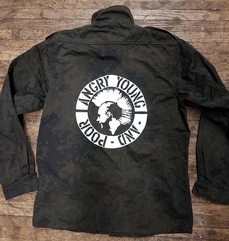 Overdyed Army Shirt / Flak Jacket With Back Print by Tiger of London- Angry Young And Poor
