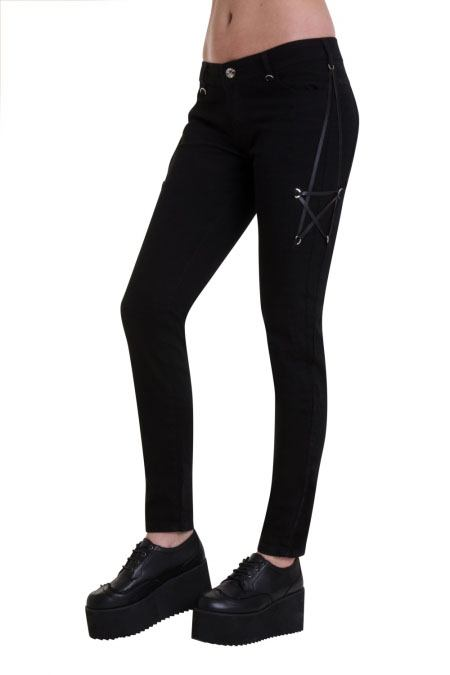 Pentagram Stretch Jeans by Banned Apparel