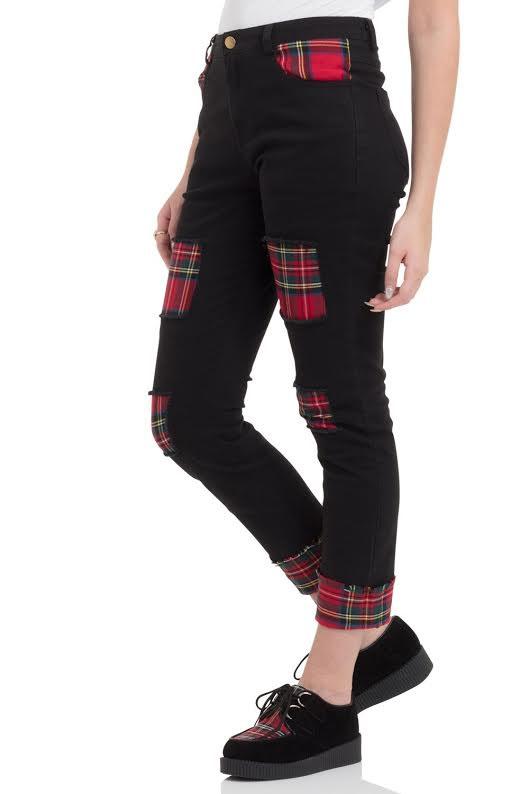 Tartan & Black Ripped Cuffed Trousers / Jeans by Jawbreaker - SALE sz L & XL only