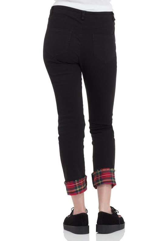 Tartan & Black Ripped Cuffed Trousers / Jeans by Jawbreaker