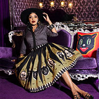Halloween Treat Classic Gathered Skirt by The Oblong Box Shop