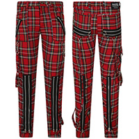 Avengence Red Plaid Cotton Blend Bondage Pants by Banned Apparel