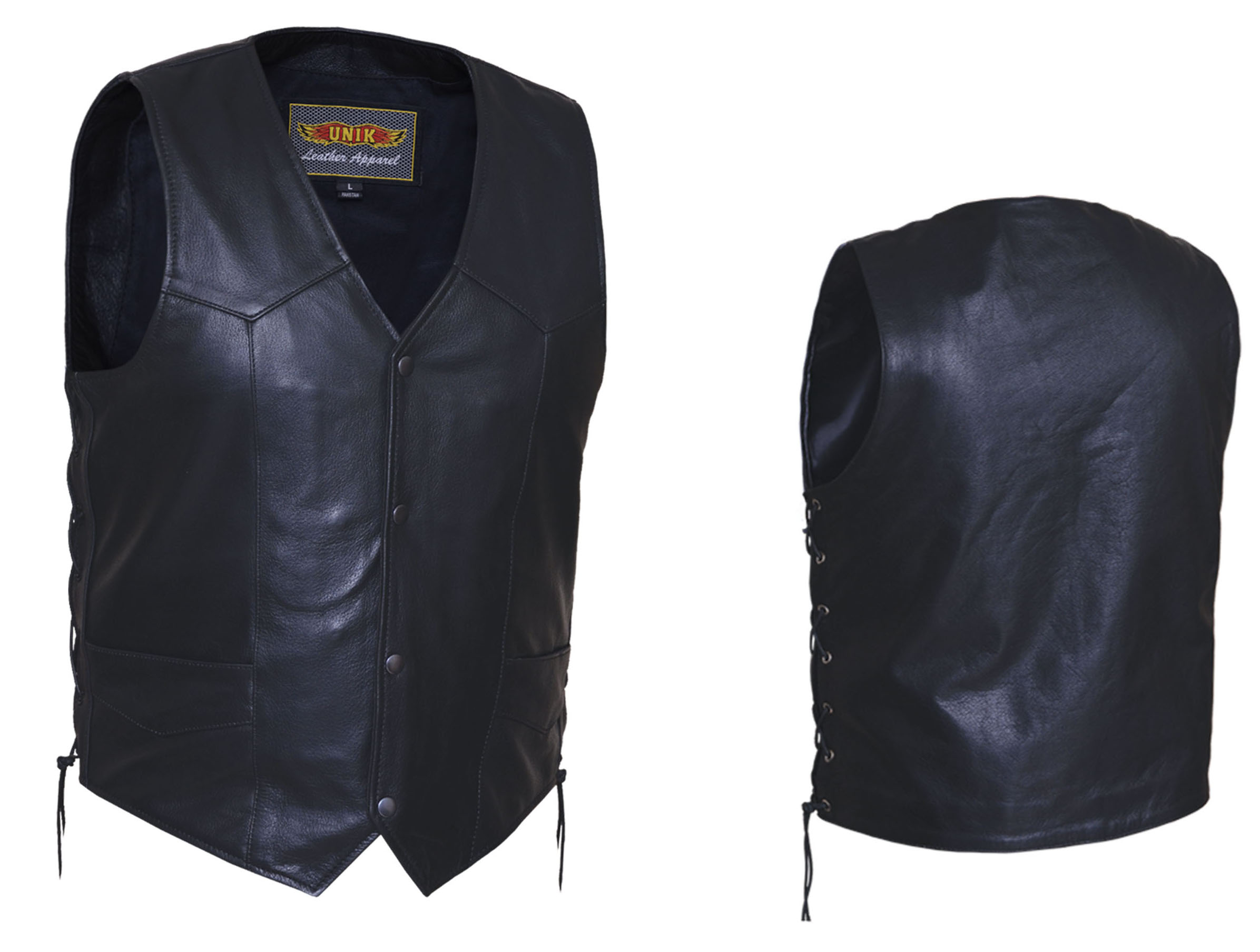 Black Leather Vest With Side Lacing by Unik Leather (Sale price!)