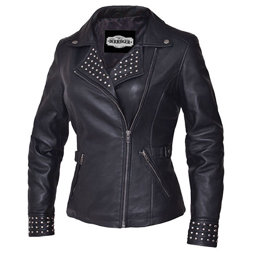 Derringer Lambskin Studded Womens Motorcycle Jacket