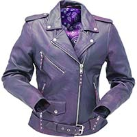 Derringer Lambskin Womens Motorcycle Jacket- Purple