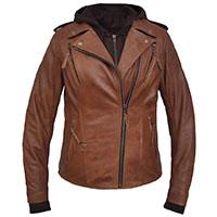 Derringer Lambskin Womens Hooded Motorcycle Jacket- Arizona Brown