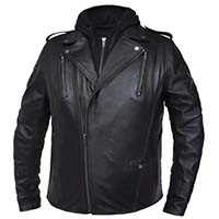 Derringer Lambskin Motorcycle Jacket With Removable Hoodie