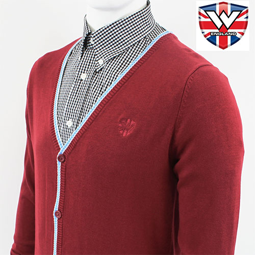 Cardigan Sweater by Warrior Clothing- Maroon With Blue Trim - SALE sz S only