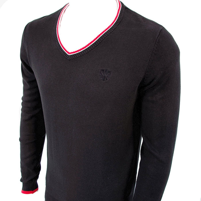 Classic Sweater by Warrior Clothing- Black With Red Trim