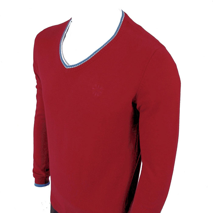 Classic Sweater by Warrior Clothing- Maroon With Blue Trim