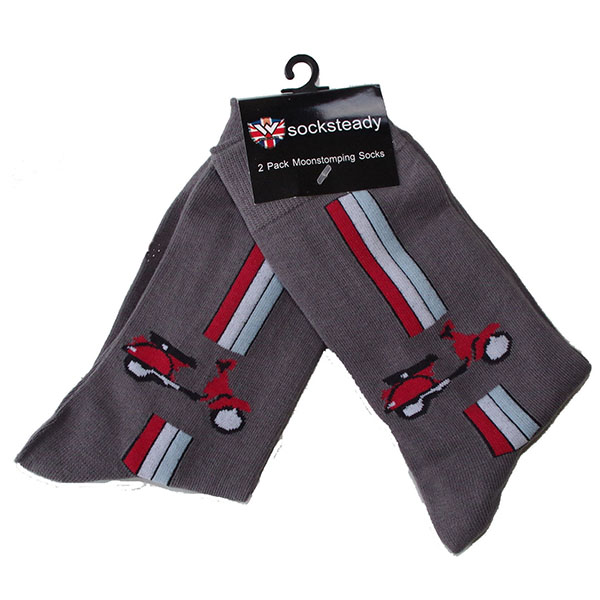 Socksteady 2 Pack Of Socks by Warrior Clothing- Vespa (Red Scooter Image)