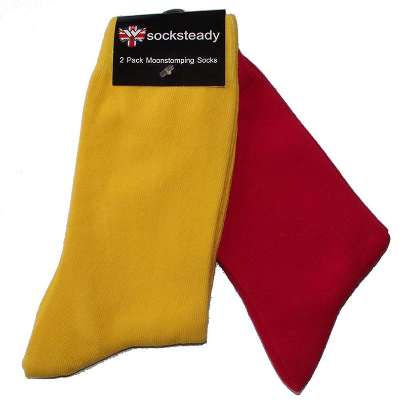 Socksteady 2 Pack Of Socks by Warrior Clothing- Red & Yellow