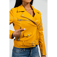 Remy Womens Vegan Faux Leather Motorcycle Jacket by First MFG- Mustard