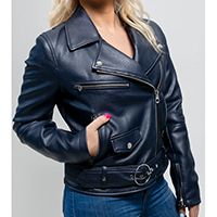 Remy Womens Vegan Faux Leather Motorcycle Jacket by First MFG- Navy