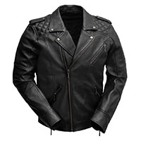 Gavin Guys Sheepskin Motorcycle Jacket With Quilted Shoulder by First MFG