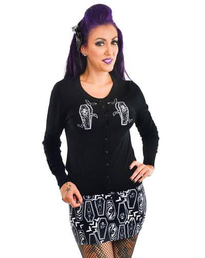 Embroidered Coffins Cardigan by Too Fast Clothing