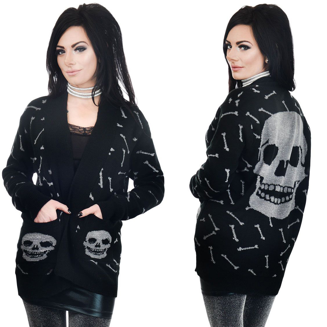 Glitter Bones Long Cardigan by Too Fast / Rat Baby Clothing - SALE sz 2X only
