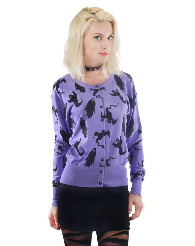 Ghost Cardigan by Too Fast Clothing/Rat Baby - Lilac with black ghosts
