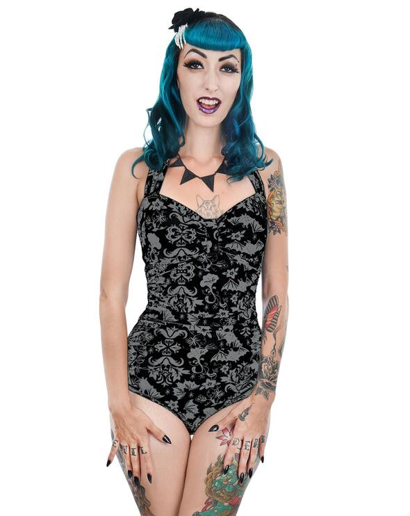 Victorian Bats Gothic Damask Rita Retro Pin Up One Piece Swimsuit by Too Fast Clothing / Rat Baby - SALE sz M only