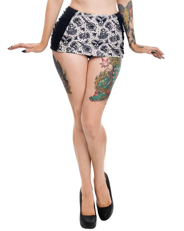 Tattoo Love Rosie Retro Pin High Waist Bikini Skirt BOTTOM by Too Fast Clothing - SALE sz S only