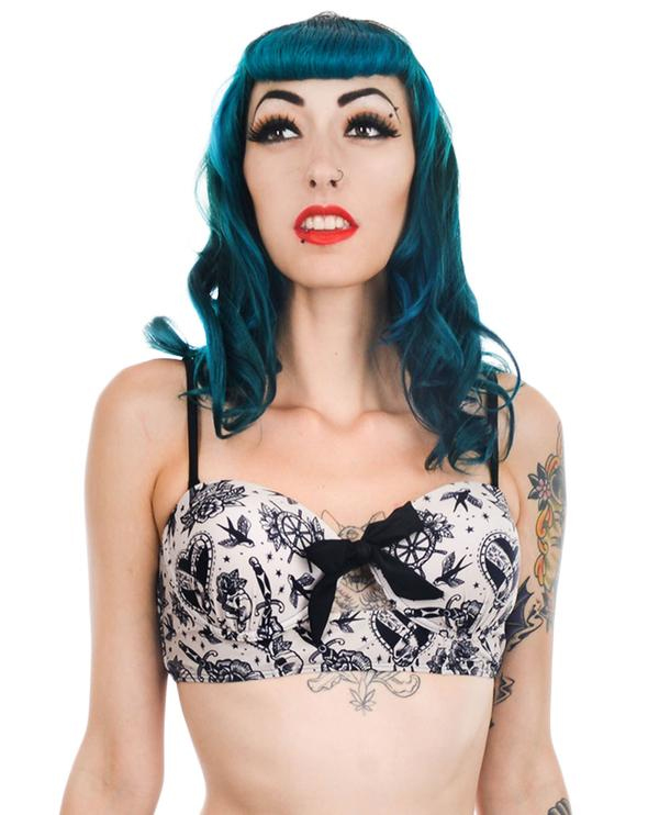 Tattoo Love Rosie Retro Pin Up Bra Cup Bikini TOP by Too Fast Clothing - SALE