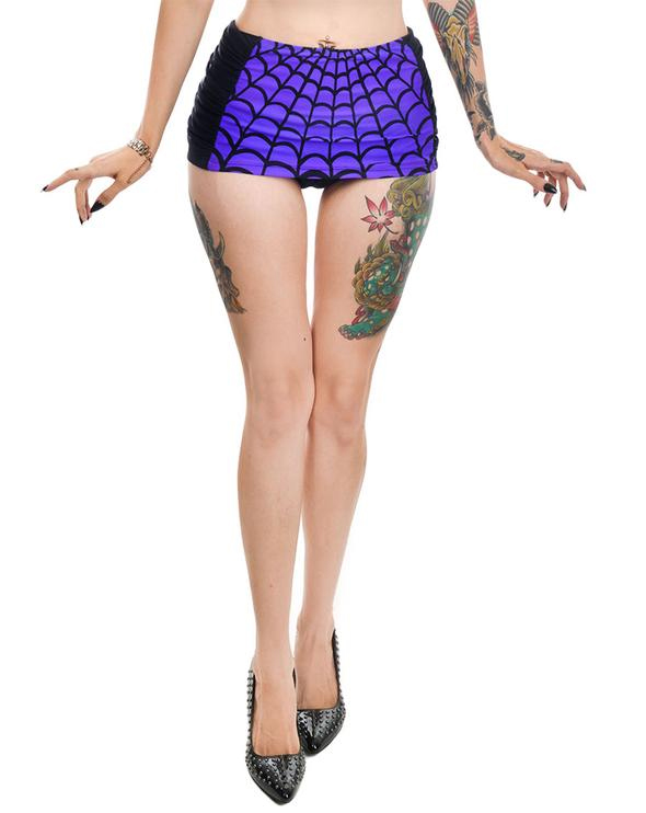 Spider Webs Rosie Retro Pin Up High Waist Bikini Skirt BOTTOM by Too Fast Clothing / Rat Baby - SALE sz XL & 2X only